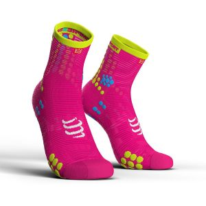 Compressport Pro Racing V3.0 - High Cut Running Socks Fluo Pink