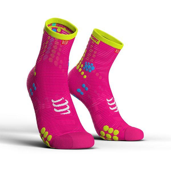 Compressport Pro Racing V3.0 - High Cut Running Socks Fluo Pink