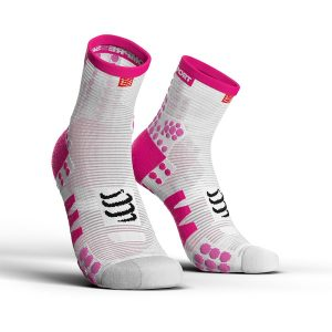 Compressport Pro Racing V3.0 - High Cut Running Socks White/Pink