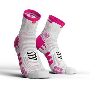Compressport Pro Racing V3.0 - High Cut Running Socks White/Pink