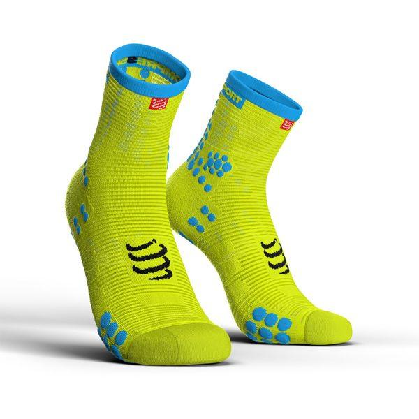 Compressport Racing V3.0 - High Cut Running Socks Fluo Yellow