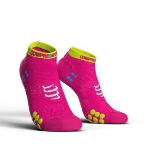Compressport Racing V3.0 - Low Cut Running Socks Fluo Pink