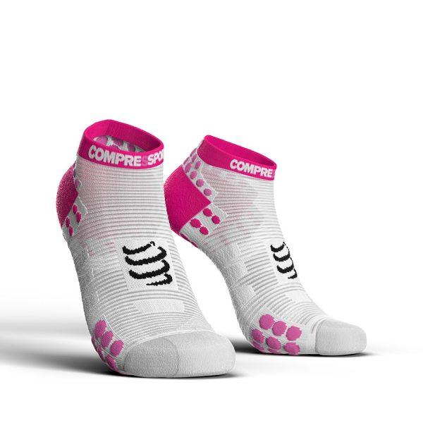 Compressport Racing V3.0 - Low Cut Running Socks White/Pink