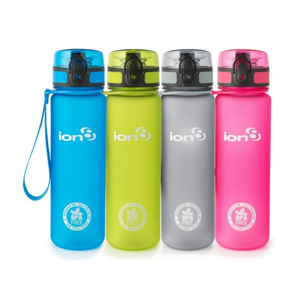 Ion8 Slim BPA Free Water Bottle - 500ml Solid Carbon