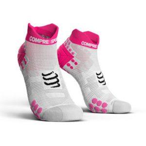 Compressport Racing Socks V3.0 Run Lo White/Pink
