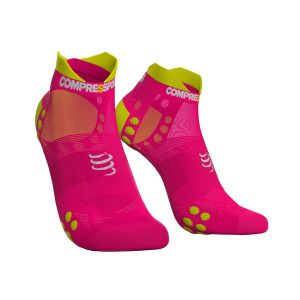 Compressport Racing Socks V3.0 Low Ultralight Run Hi Fluo Pink