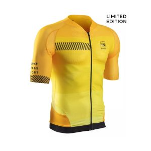 [Limited Edition] Compressport Cycling Shirt Born To Ride Alpe d'Huez Yellow
