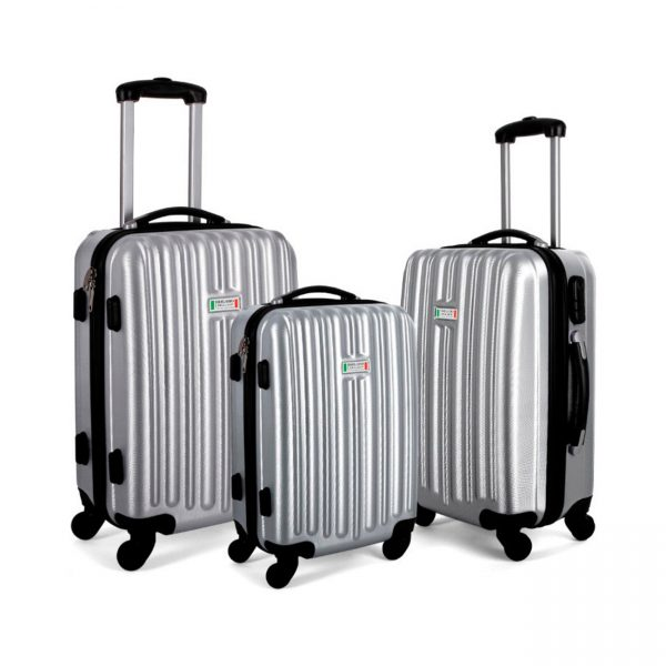 Milano Luxury Luggage 3pc Silver